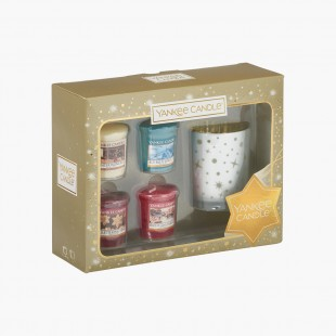 Coffret 3 Votives et photophore Sparkle Holiday Noel Yankee Candle