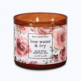 Rose Water & Ivy Bougie 3 Mèches