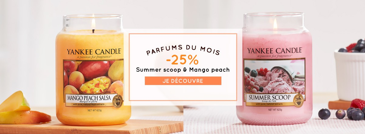 parfums du mois promotions soldes bougies yankee candle summer scoop mango peach salsa