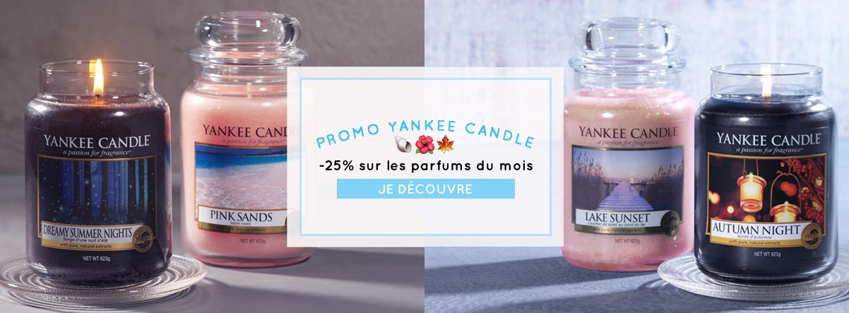 Parfum du mois Yankee Candle Pink Sands Dreamy summer night Lake Sunset Autumn Night  promotions soldes