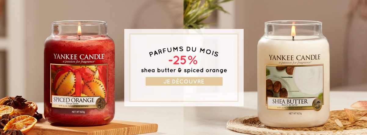 Promotions soldes Yankee Candle parfums du mois octobre spiced orange shea butter