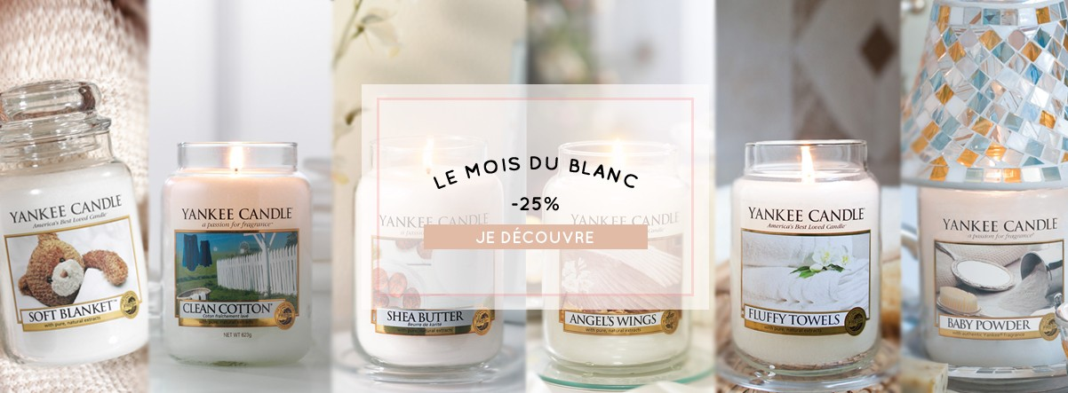 promotions soldes bougies yankee candle soft blanket shea butter clean cotton baby powder le mois du blanc