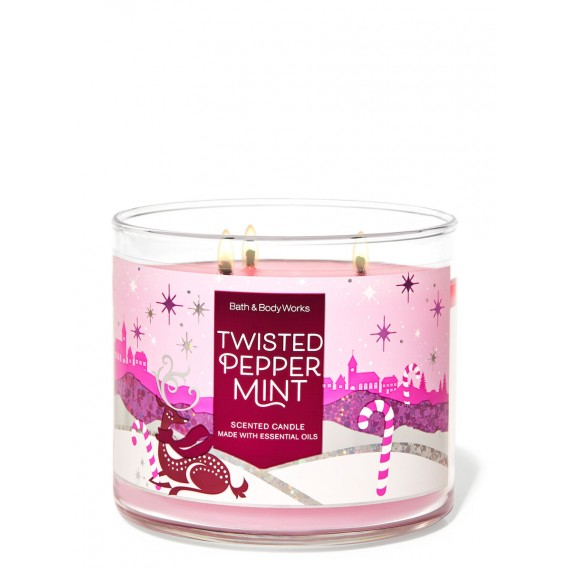 Bath & Body Works Twisted Peppermint Bougie 3 Mèches
