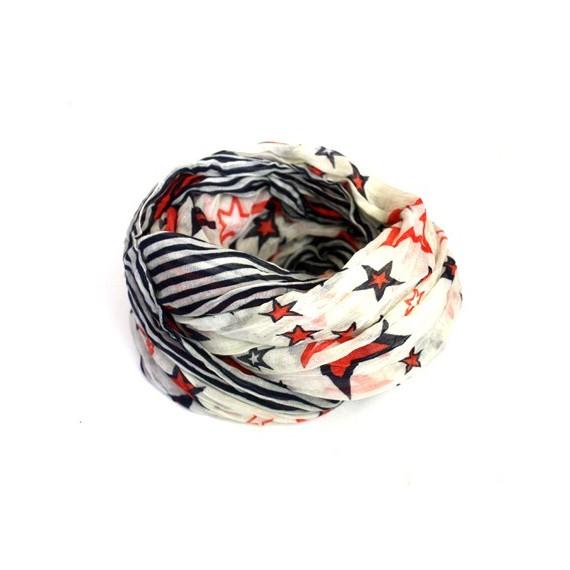 foulard Tube blanc étoilé