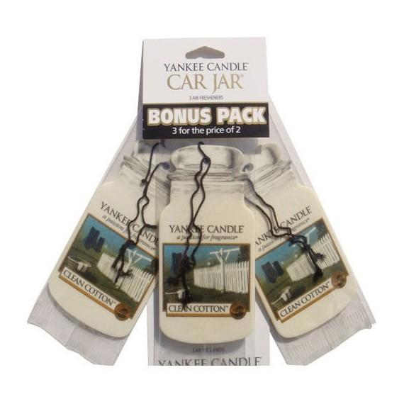 Yankee Candle Car Jar Clean Cotton x3